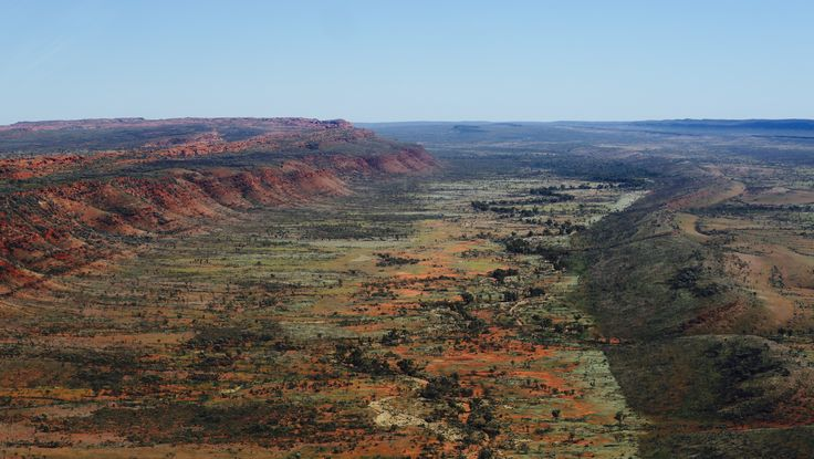 The view of what lays on the other side of the escarpment from Kings Canyon taken from a helicopter (now that's good fun)