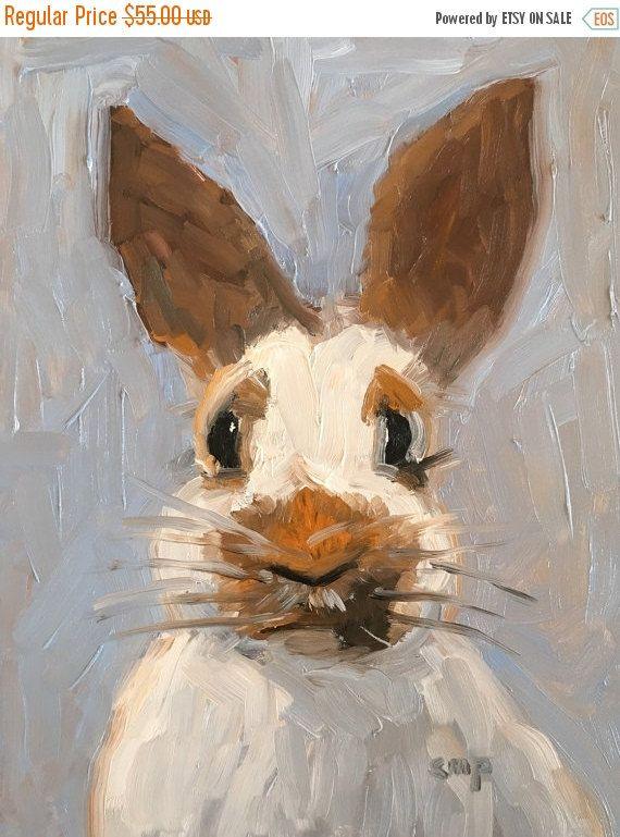 ON SALE Bunny painting rabbit art oil by modernimpressionist