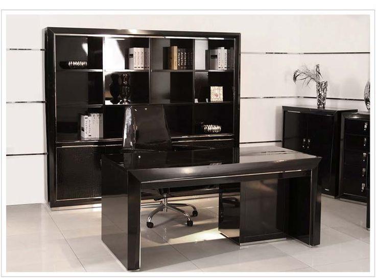 Черный книжный шкаф из мдф в интерьере рабочего домашнего кабинета с полками купить в интернет-магазине https://lafred.ru/catalog/catalog/detail/41502256243/