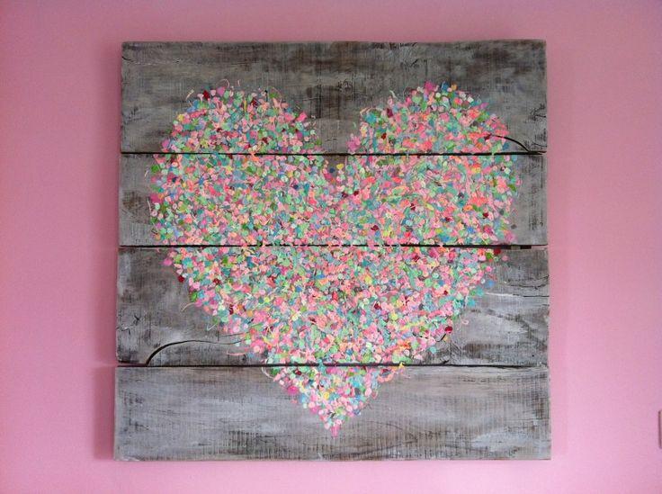 Schilderij Hart op eiken planken