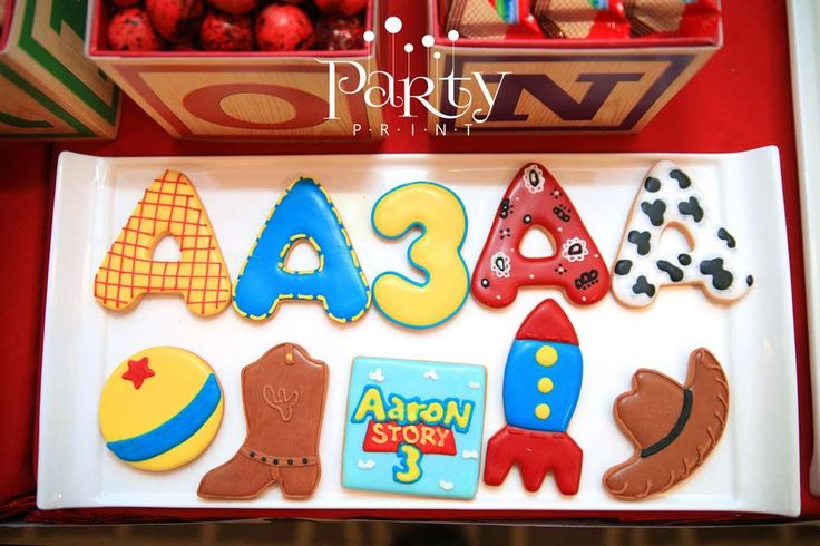 Decorated cookies at a Toy Story birthday party! See more party ideas at CatchMyParty.com!