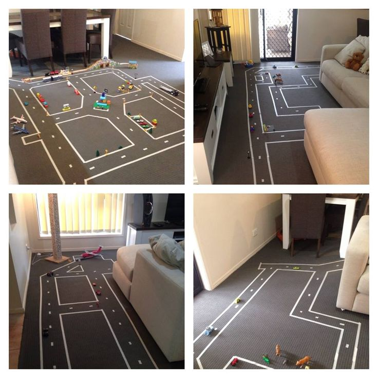 Using masking tape to take over the home and create a child's dream car track!