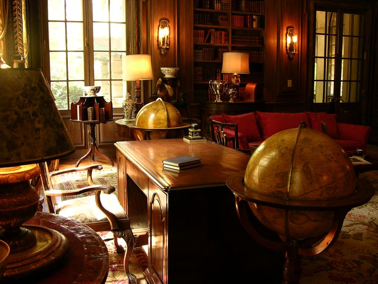manly office/library at the Swan House
