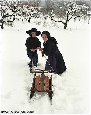 Amish children in winter.