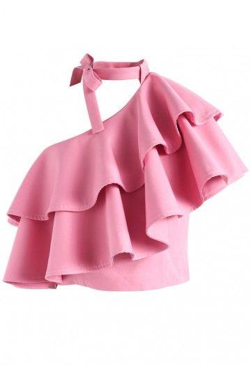 3f55c4707b50fb Ritzy One-shoulder Ruffled Crop Top in Pink - Retro