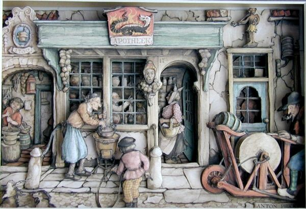 The shadowboxes drawn by Anton Pieck