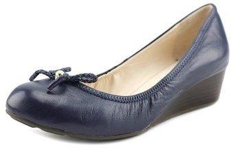 Cole Haan Tali Grand Lac Women Open Toe Leather Blue Wedge Heel.