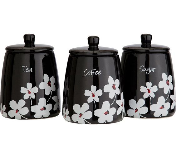 Storage Sets Kitchen Black Utensil Holder Equipment Tea Coffee Sugar Canisters Argos Set Of Online Ping