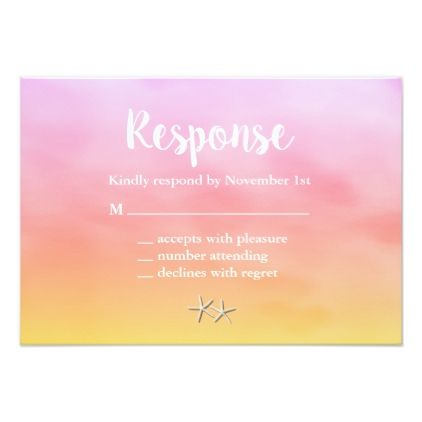 Watercolor Sandy Toes RSVP sunset Card - individual customized designs custom gift ideas diy