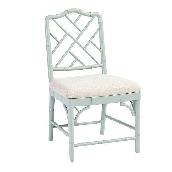 Our Dayna Side Chair captures the sophisticated soul of Chinese Chippendale styling. Solid beech wood frame is artisan crafted with classic fretwork.