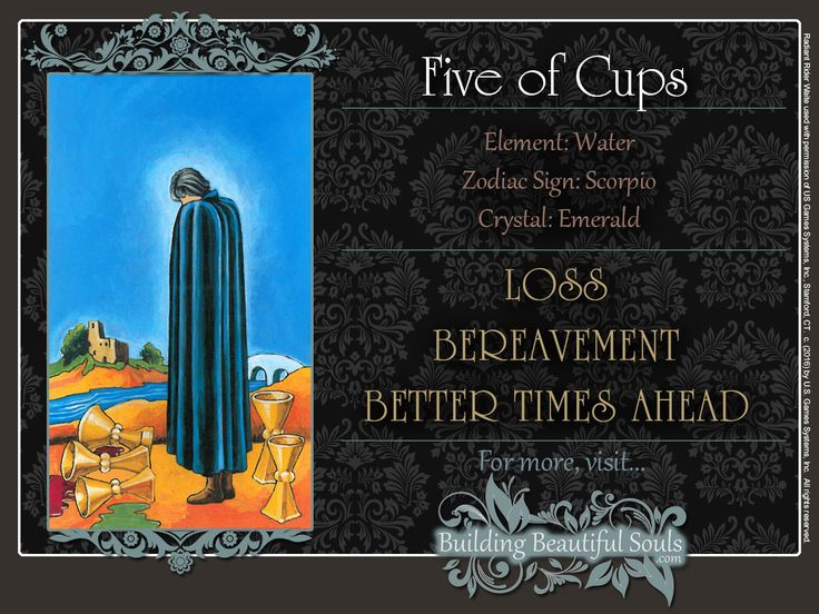 THE Five of Cups TAROT CARD MEANINGS - UPRIGHT& REVERSED! The Five of Cups Tarot includes LOVE, NUMEROLOGY, & SYMBOLS for more accurate TAROT READING.