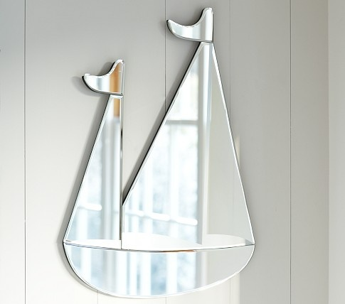 What a great idea - a sailboat shaped mirror from Potter Barn kids.