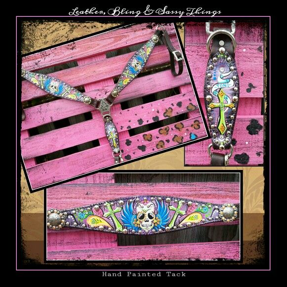 hand painted tack leather bling sassy things. Black Bedroom Furniture Sets. Home Design Ideas