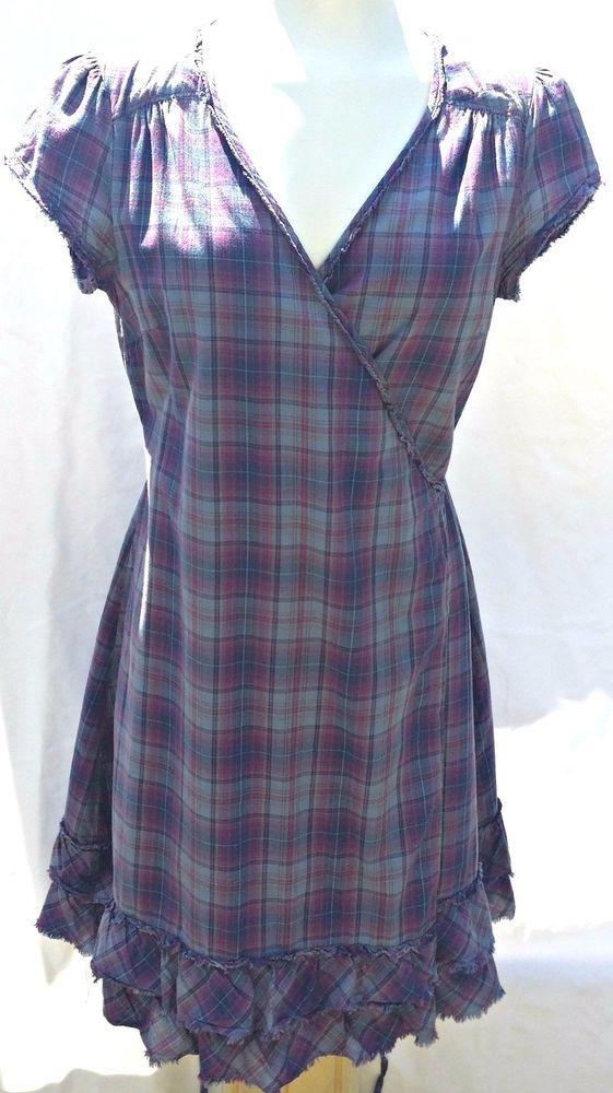 aa1509e17743 Converse One Star Women s Wrap Dress Size M Purple Plaid Short Sleeves  Ruffles  Converse  WrapDress  Casual