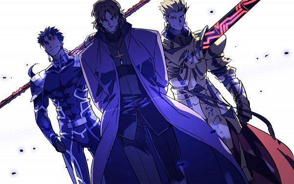 Fate/Stay Night - Lancer, Kotomine Kirei, and Gilgamesh