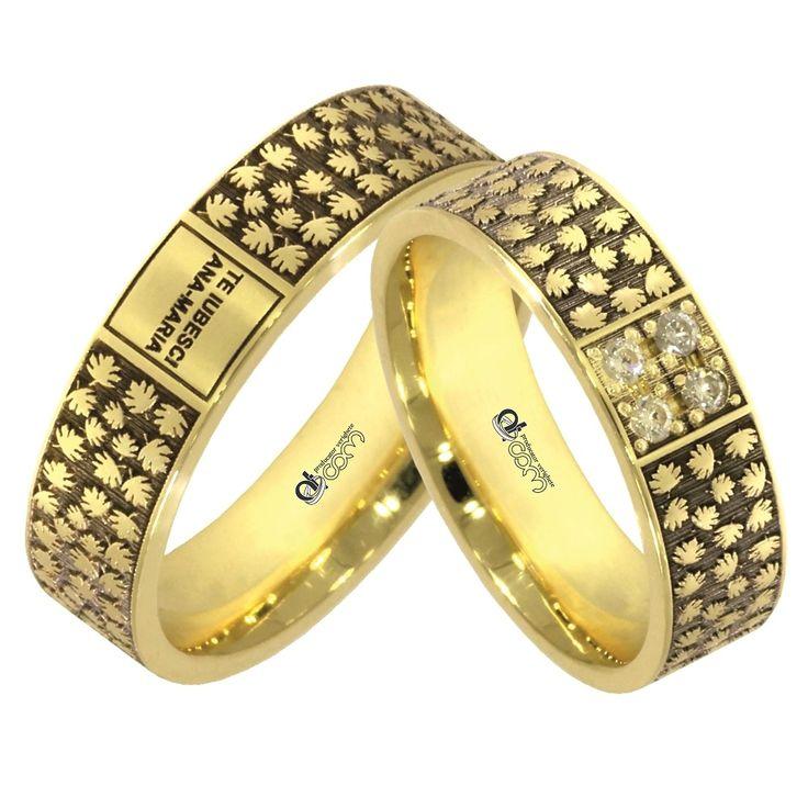 Verighete ATCOM Lux CHANTELLE aur galben  In timp ce banda din aur pentru dama este impodobita cu 4 cristale / diamante, verigheta domnului poate fi personalizata prin gravarea unui mesaj de iubire.