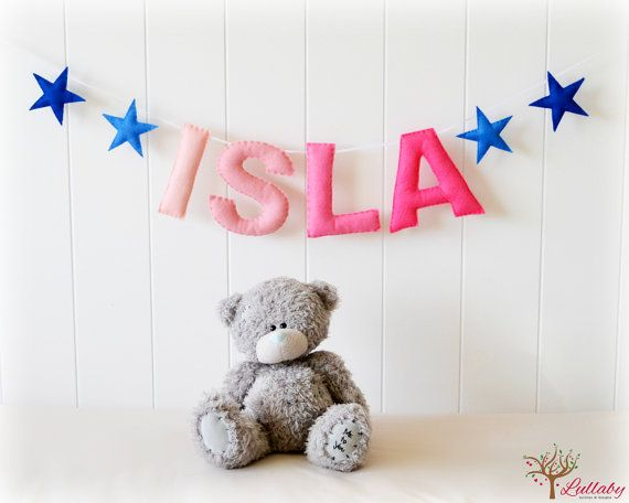 Personalized felt name banner custom made wall by LullabyMobiles,