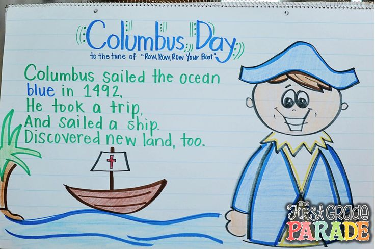 """Song, """"Columbus Sailed the Ocean Blue"""" (Tune: """"Row, Row, Row Your Boat""""; from The First Grade Parade)"""