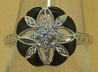 Jewellery-ring-Designer-Kaiserman- Black Enamel on Silver Flower with Cubic Zirconia