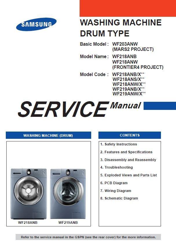 Samsung Wf219anb Wf219anw Wf218anb Wf218ans Wf218anw Washer Service Manual Washing Machine Service Manual Washing Machine Repair Guide