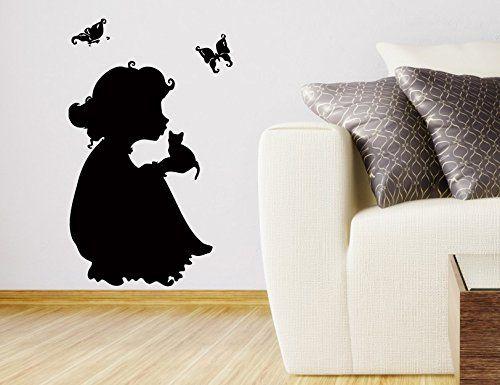 wall vinyl sticker decal art design little girl with kitten in her arms baby nursery room
