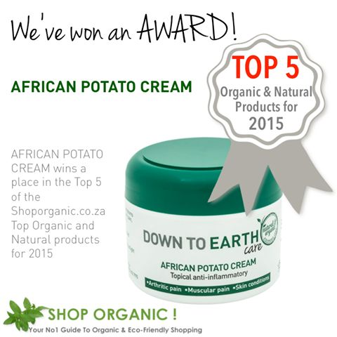 We are thrilled to announce that the African Potato Cream has been included in the ShopOrganic.co.za Top 5 Organic/Natural Products for 2015. In 2014 it was the Revive Moisturiser.