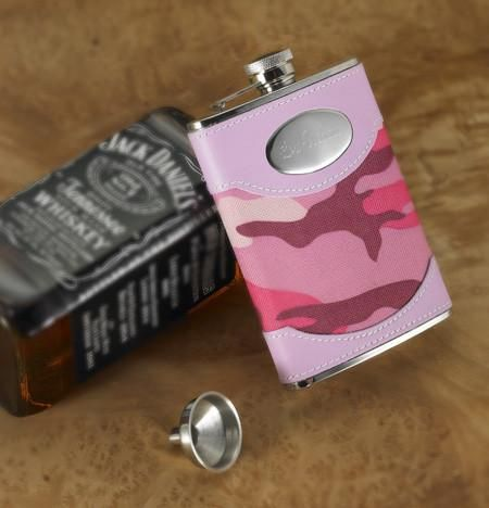 8 oz Pink Camouflage Flask