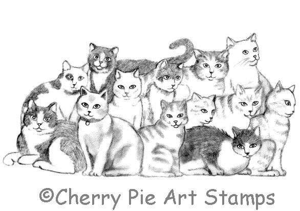 Group of CATS CLiNG RuBBer STaMP for acrylic block by Cherry
