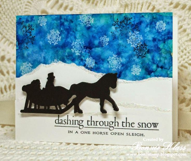 Stamping with Klass: Merry Monday One Horse Open Sleigh Christmas or Winter Card.