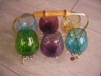 6 farbige Cognacschwenker 50er 60er