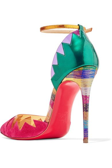 Christian Louboutin - Chapito Ho 100 Pvc-trimmed Suede And Leather Pumps - Bubblegum - IT37
