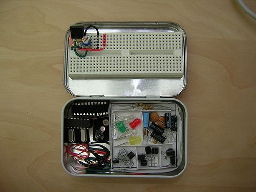 An electronics lab that fits in an Altoid tin. And, while you're at it, dart guns, pinhole cameras, flame throwers, and Morse code oscillators, also from Altoids tins. (You may wish to refrain from demonstrating to your homeschool kids the use of the Altoids portable martini bar.) From the Art of Manliness blog.