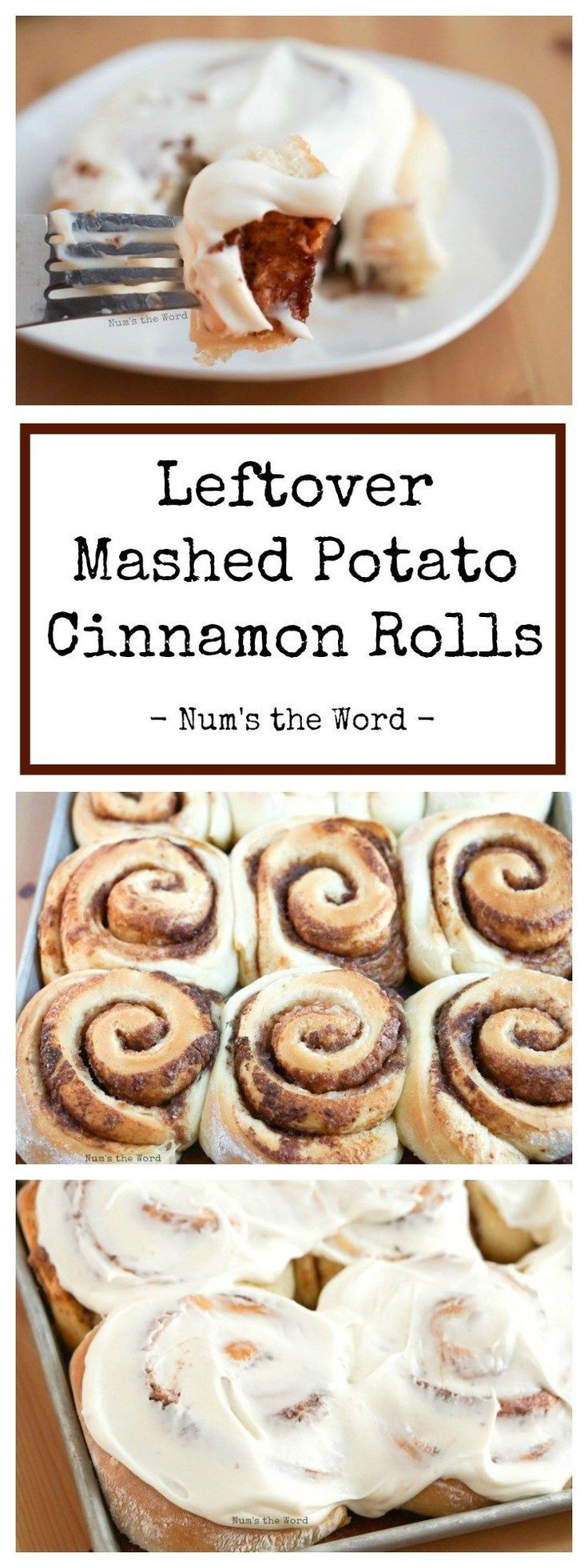 These Leftover Mashed Potato Cinnamon Rolls are the absolute best! You can't taste the mashed potatoes at all. Sweet, easy and the perfect way to use up leftover mashed potatoes! #cinnamonrolls #potatorolls #potatobread #mashedpotatoes #leftovers #leftovermashedpotatoes #thanksgiving #christmas #easter #breakfast #dessert #creamcheesefrosting #creamcheese #cinnamon #sugar #easyrecipe #recipe #numstheword