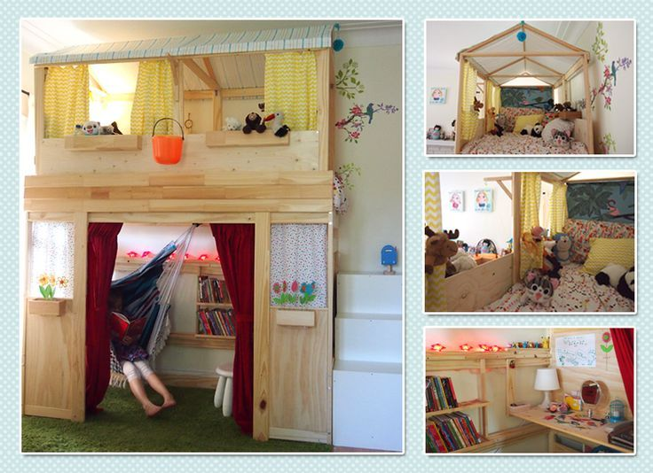 From bunk bed to playhouse: IKEA Mydal bunk bed, Trofast storage as stairs: