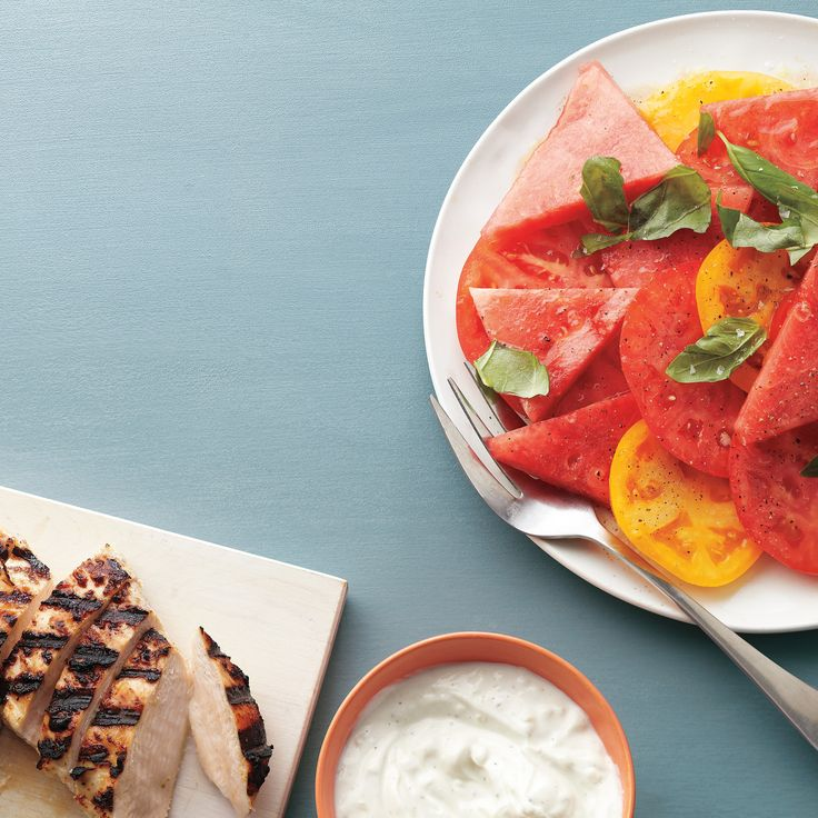 Yogurt-Maranaded Chicken and Watermelon Tomato Salad