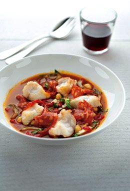 zeeduivel met kikkererwten, snijbiet, chorizo en jus van tomaat