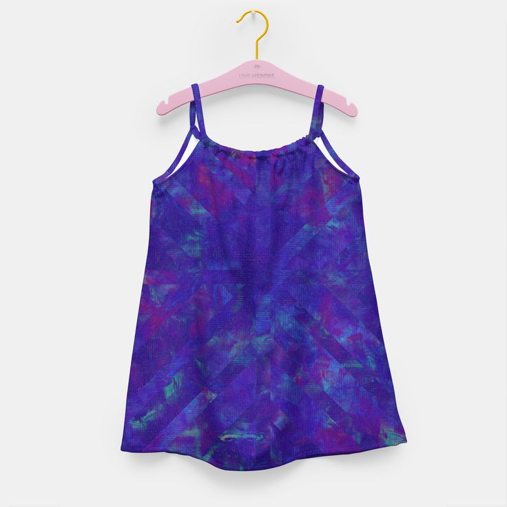 Painted Geometry 1 Kids Dress by Fimbis  _________________________________ purple, violet, ultra violet, stripes, cyan, fluid art, fluid painting, apparel, girls, children's wear, kids wear, fashionista, fashion, style, colour of the year, color of the year, dresses,
