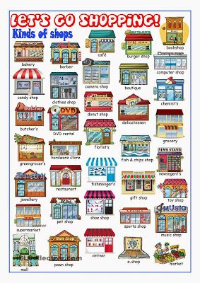 Different shop names in English. Print out this cute graphic chart and turn it into flash cards!