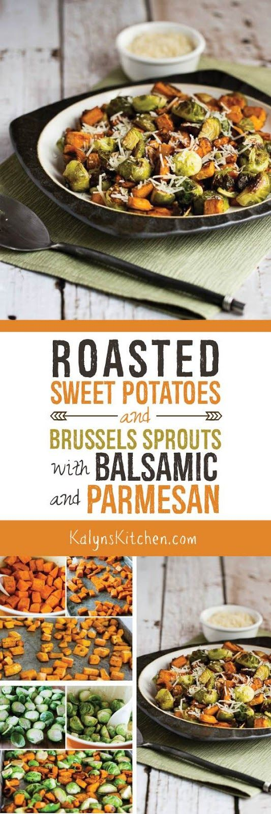 Roasted Sweet Potatoes and Brussels Sprouts with Balsamic and Parmesan is a perfect dish for Meatless Monday or as a Thanksgiving side, and if you skip the Parmesan this is Paleo or Whole 30. [KalynsKitchen.com]