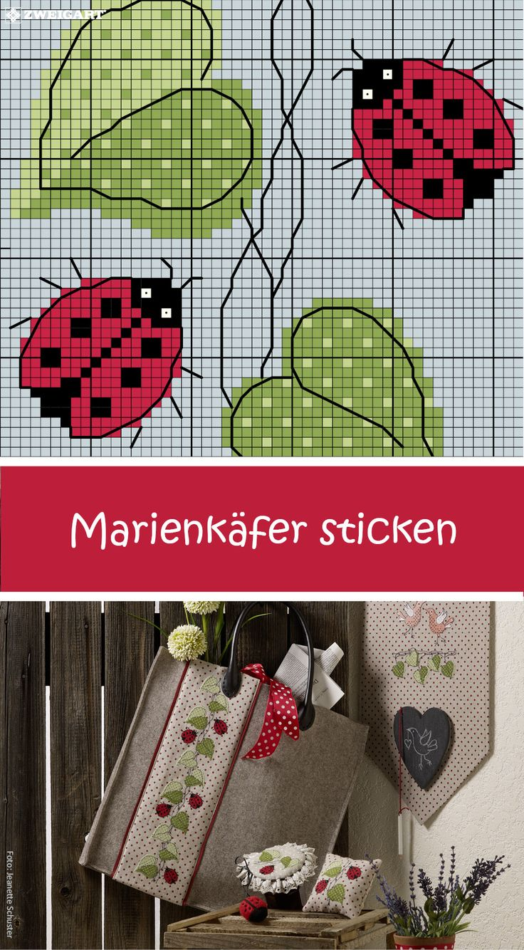 Kleine Marienkäfer auf eine Tasche sticken #Sticken #Kreuzstich #Marienkäfer; #Embroidery #ladybug / #ZWEIGART #stitchwithlove