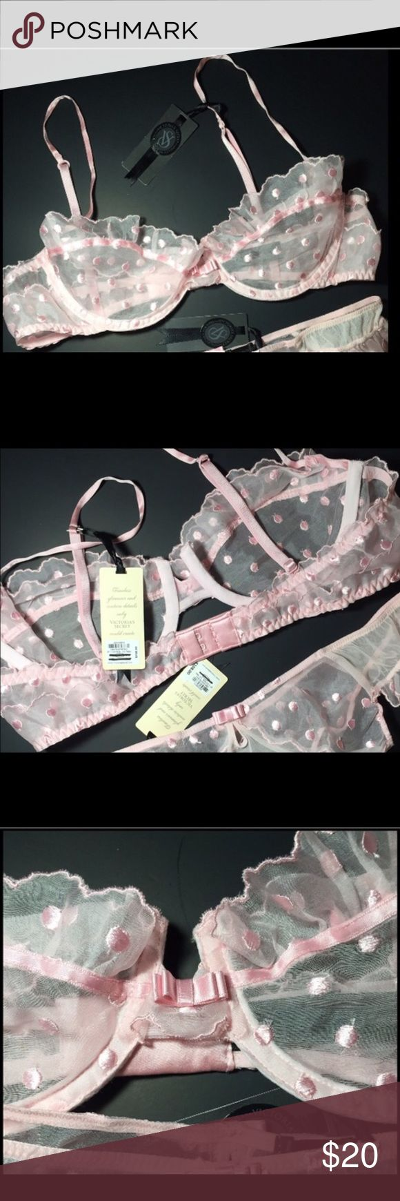 New Victoria's Secret bra Limited Edition 34C Brand-new with original tags Victoria's secret Designer Collection unlined bra. 100% silk. Sheer pink with pink dots and pink bowtie ribbon. 34C CLASSIC. Beautiful Victoria's Secret Intimates & Sleepwear Bras
