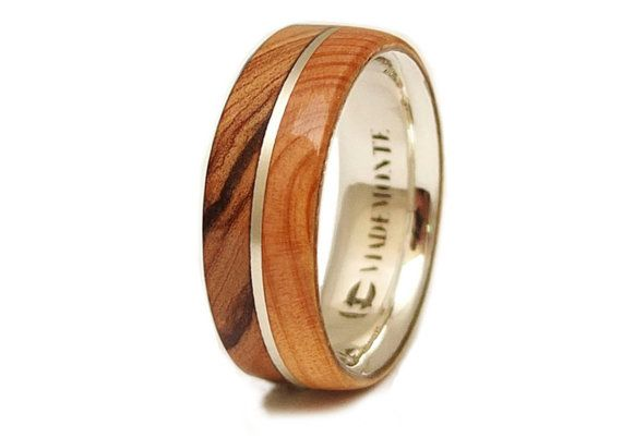 Olive Wood Ring and  Juniper Wood  in Sterling Silver