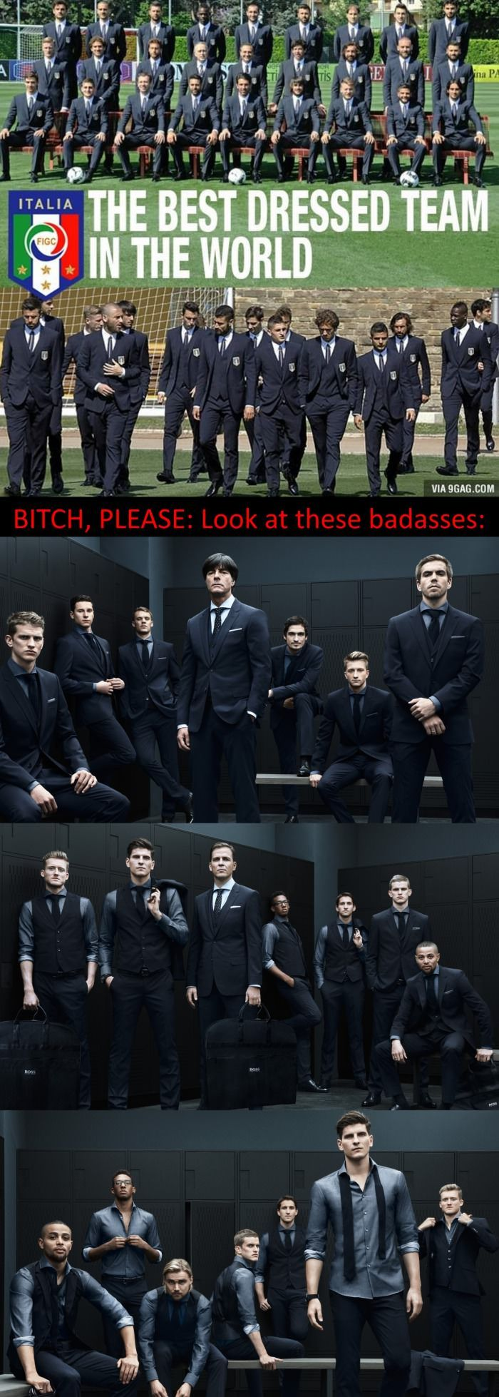 German Football Team Dressed by Hugo Boss - Excuse the language, but seriously. Look at those dapper German guys. You can't compare Italy to THAT.