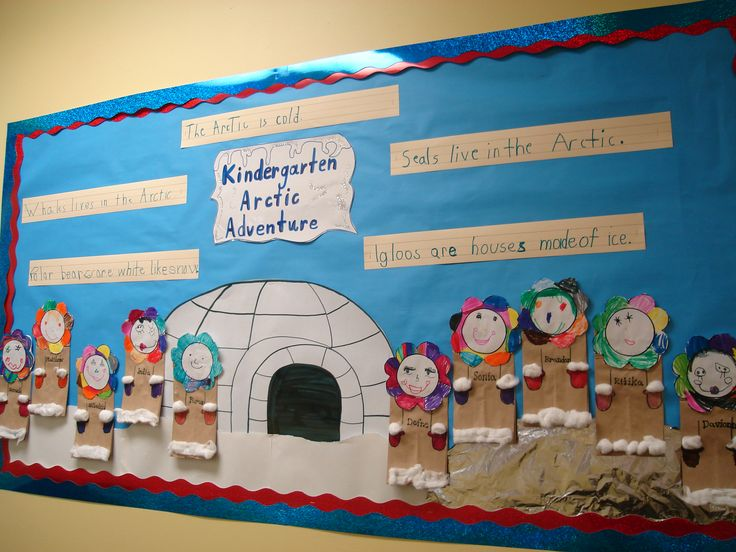 """""""Arctic Adventure"""" is a """"cool"""" title for a winter bulletin board display that includes an igloo and children creating characters bundled warm in winter clothes.  This is a kindergarten display, but since I teach older elementary students, I would add having my students write their own Arctic adventure stories to this display idea."""