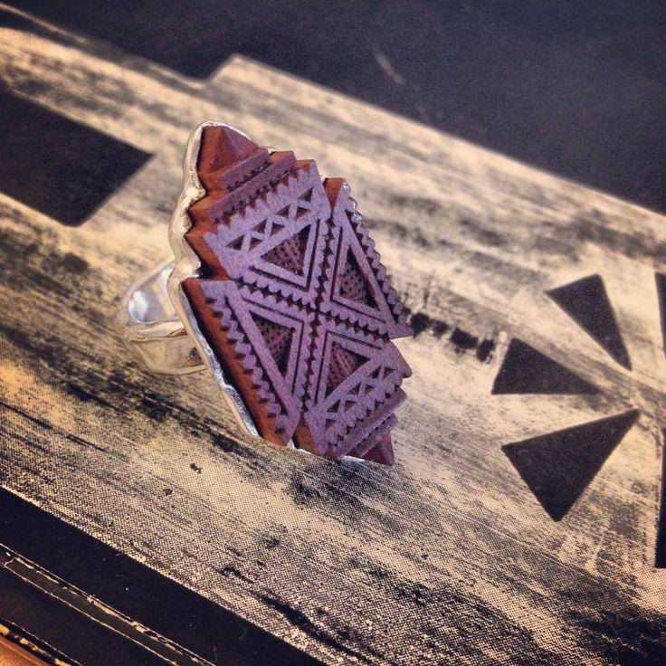 Wood Ring, Manually Engraved, Ancestral Symbols, Romanian Jewlerly