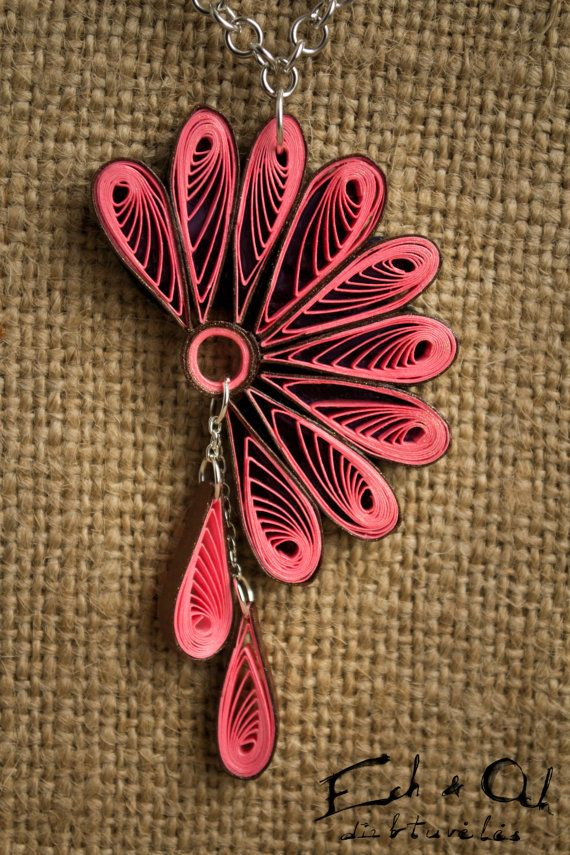 Pink color paper quilled eco-friendly earring and by EchOchCrafts