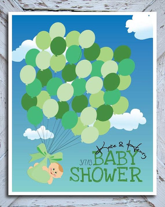 Baby Shower Guestbook Alternative // Guest Sign In Keepsake // Balloons And  Baby /