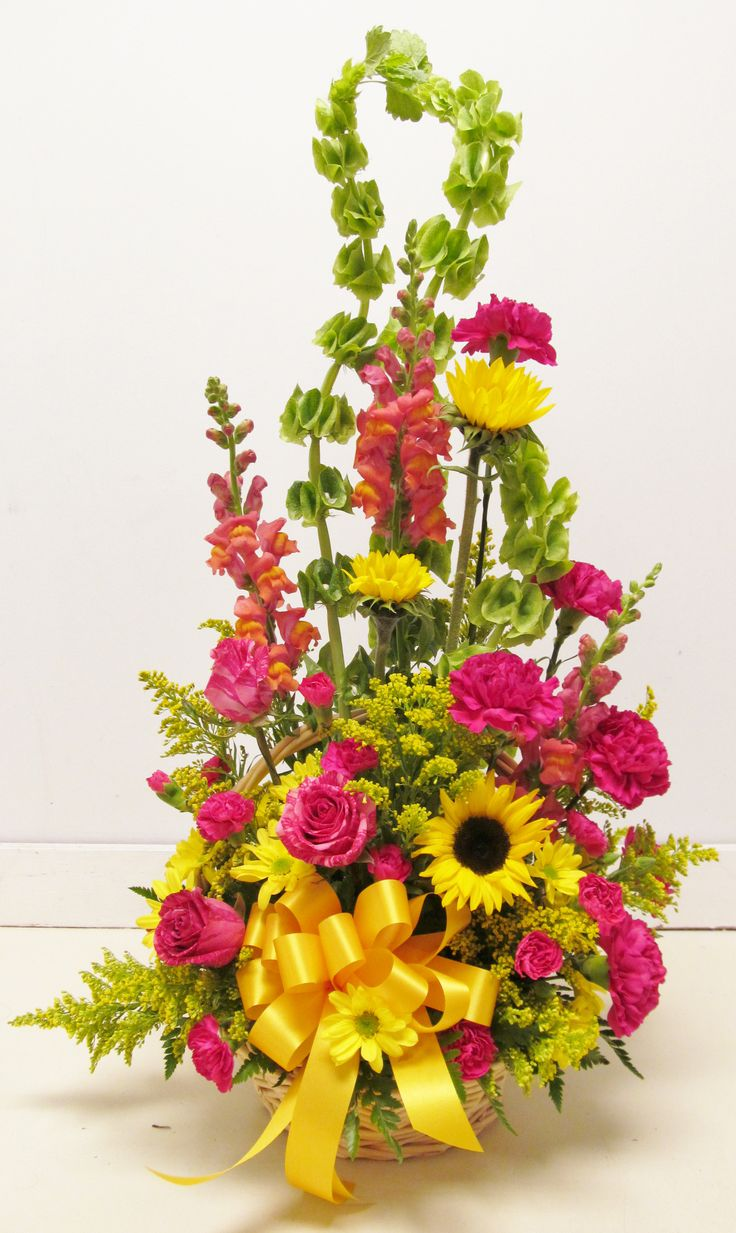 bright pink and yellow basket