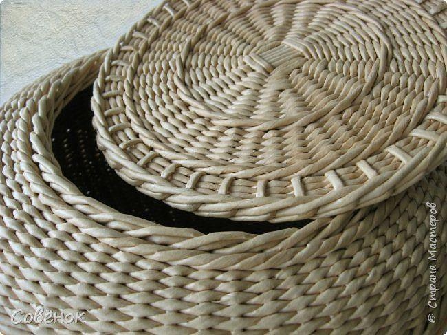 Поделка изделие Плетение Корзина и шкатулки Бумага газетная Трубочки бумажные фото 8