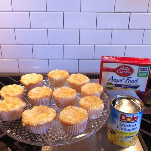 1 box of Angel Food Cake Mix and 1 large can of crushed pineapple with the juice! Combine only those 2 ingredients!! Bake at 350 for 40 min or until golden brown:) Thats it!!!! It really works and is sooo yummy and FAT FREE:)))